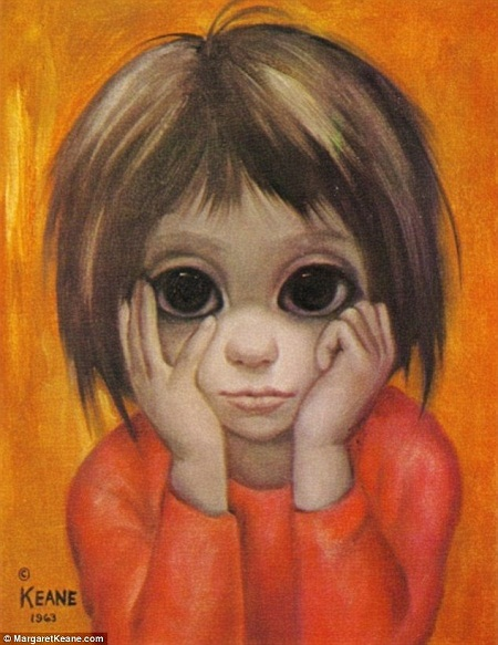 """Mộtbức vẽ theo phong cách """"mắt to"""" được bán dưới danh nghĩa Walter Keane là tác giả."""
